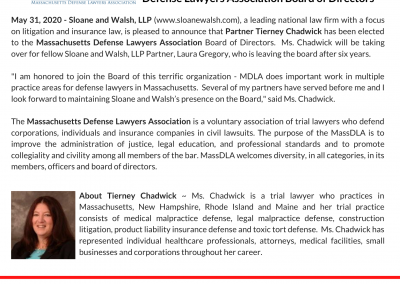 Tierney Chadwick elected to the Massachusetts Defense Lawyers Association Board of Directors
